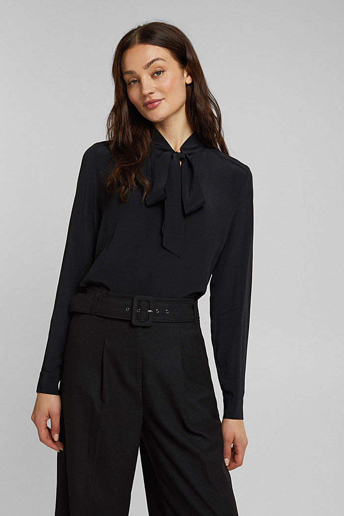 Crêpe pussycat bow blouse, BLACK, detail image number 0