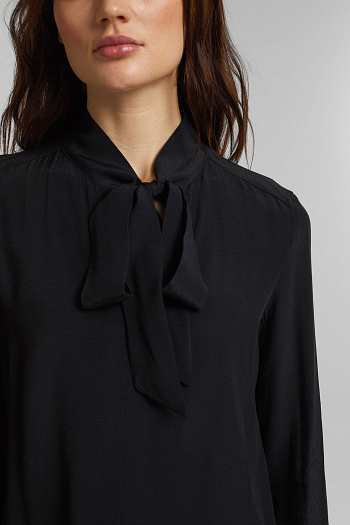 Crêpe pussycat bow blouse, BLACK, detail image number 2