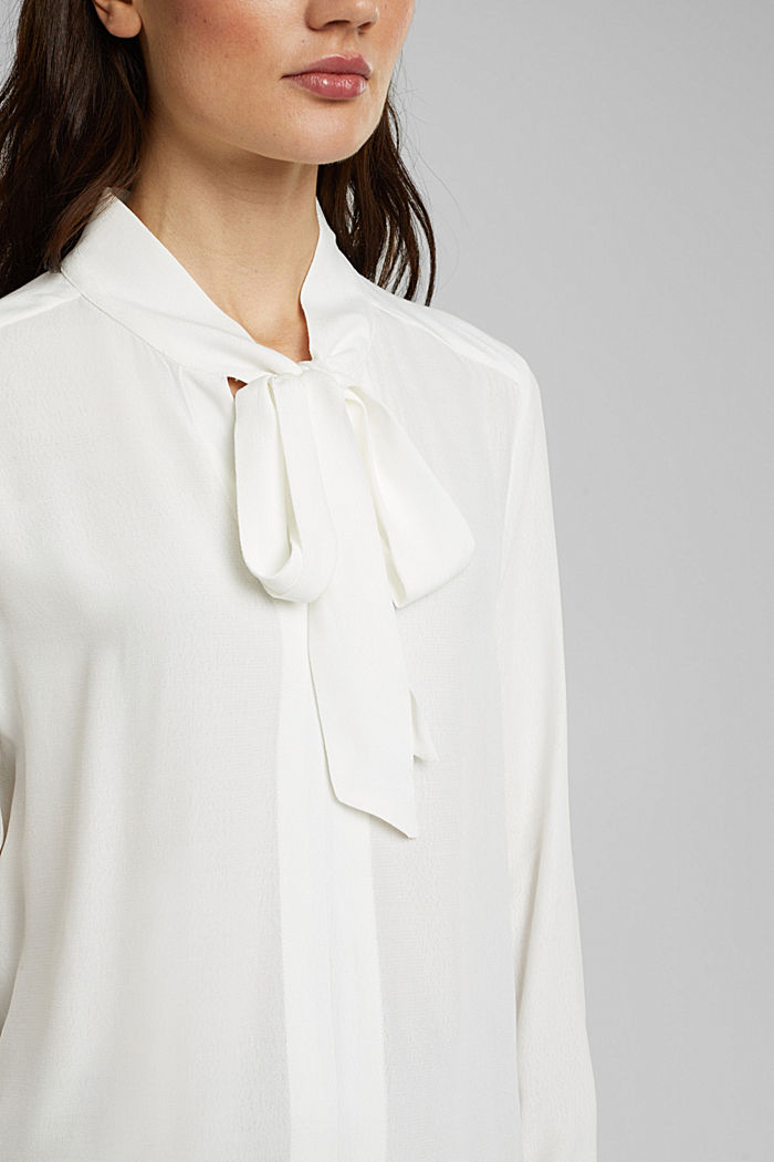 Crêpe pussycat bow blouse, OFF WHITE, detail image number 2