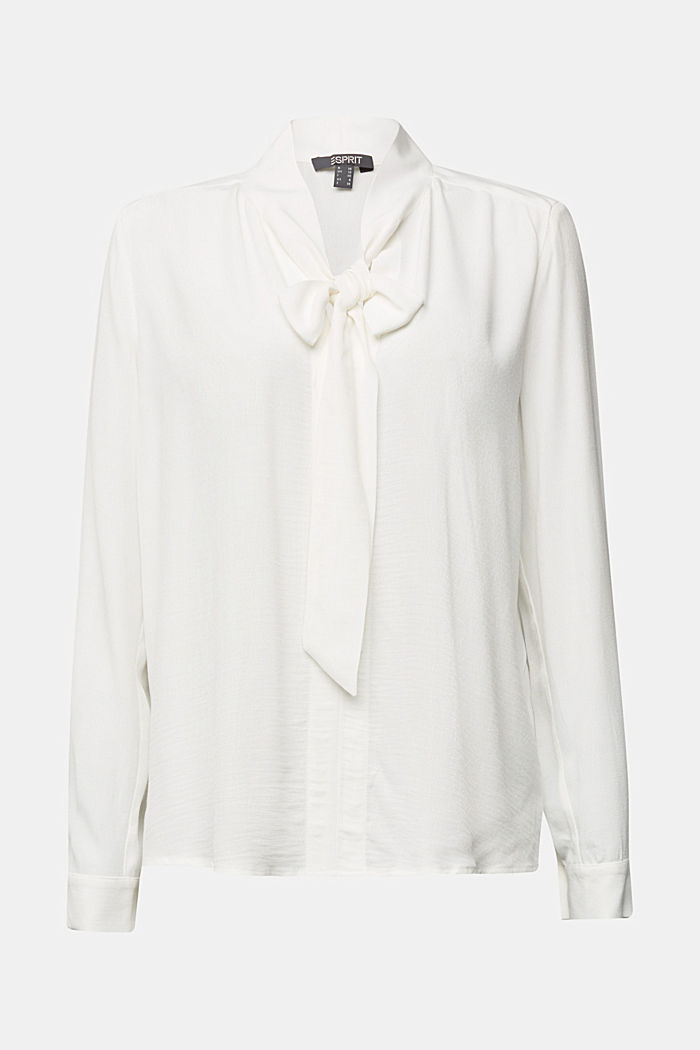 Crêpe pussycat bow blouse, OFF WHITE, detail image number 7