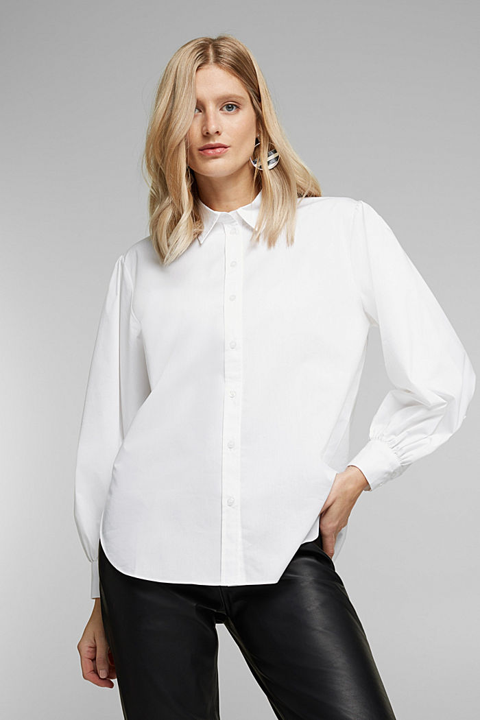 Poplin blouse with balloon sleeves, WHITE, detail image number 0