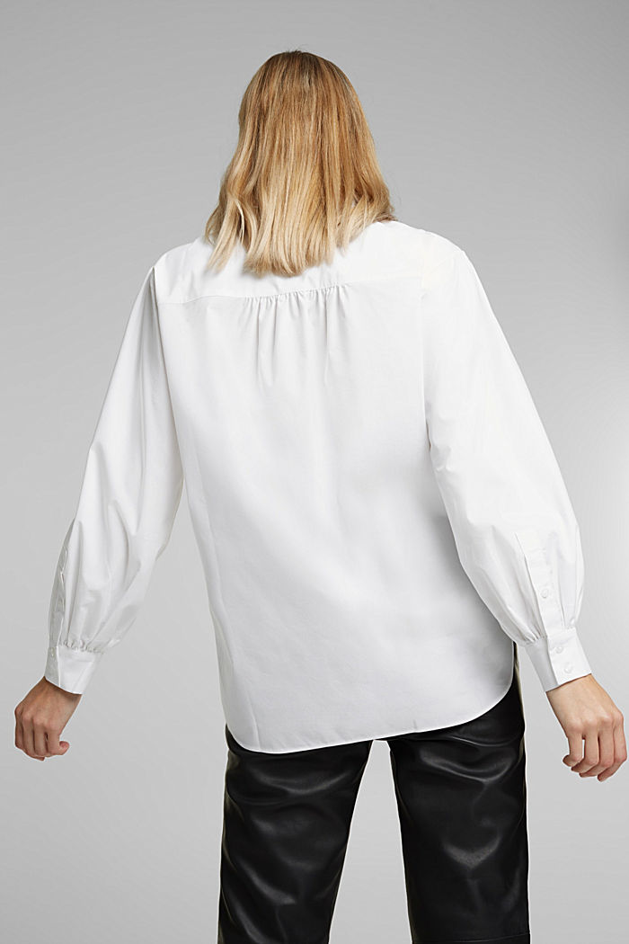 Poplin blouse with balloon sleeves, WHITE, detail image number 3