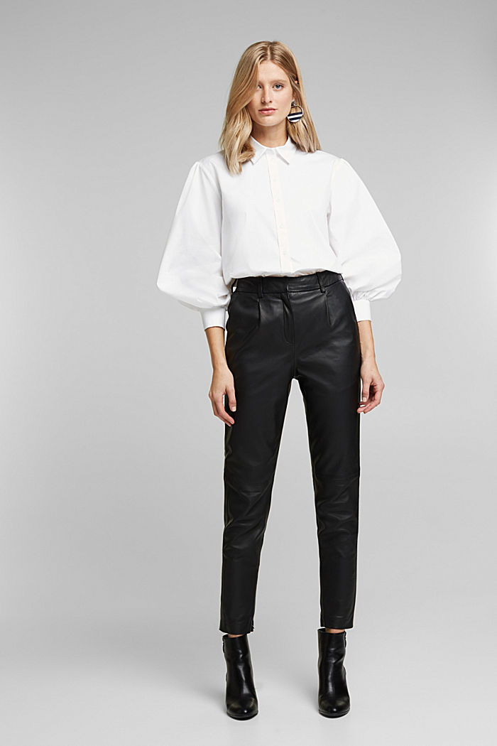 Poplin blouse with balloon sleeves, WHITE, detail image number 5