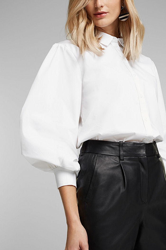 Poplin blouse with balloon sleeves, WHITE, detail image number 2