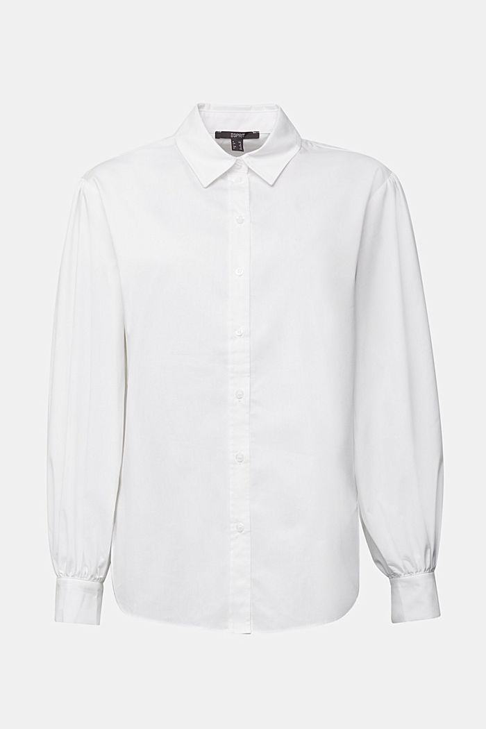 Poplin blouse with balloon sleeves, WHITE, detail image number 6