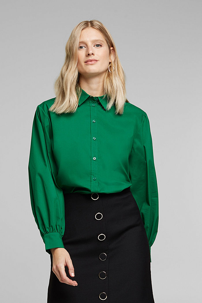 Poplin blouse with balloon sleeves, DARK TEAL GREEN, overview