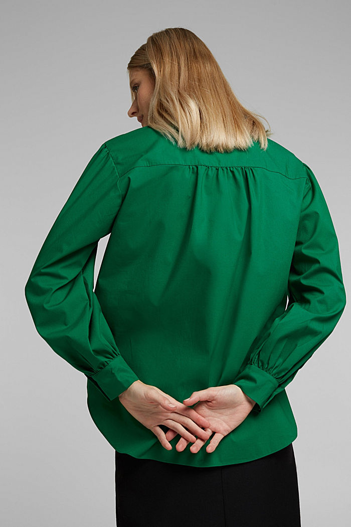 Poplin blouse with balloon sleeves, DARK TEAL GREEN, detail image number 3