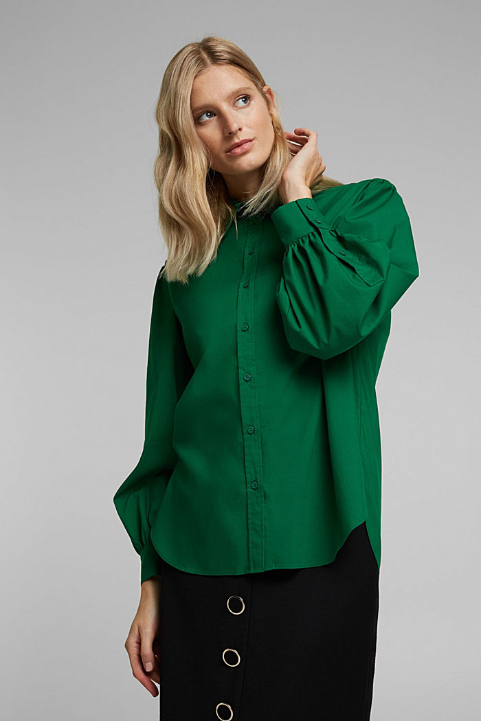 Poplin blouse with balloon sleeves, DARK TEAL GREEN, detail image number 5
