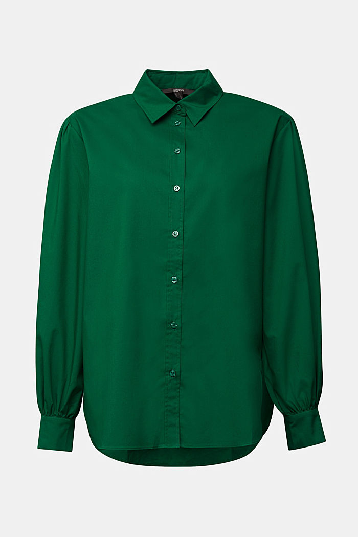 Poplin blouse with balloon sleeves, DARK TEAL GREEN, detail image number 7