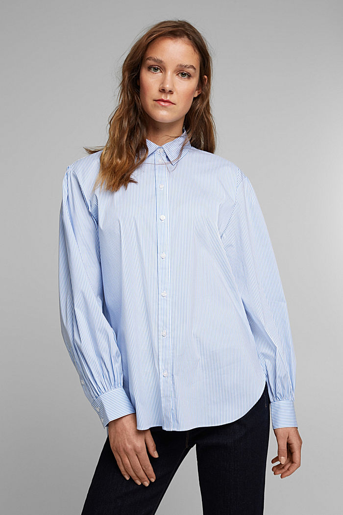 Statement blouse with balloon sleeves, LIGHT BLUE, detail image number 0