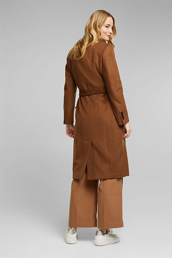 Con cachemire: cappotto in misto lana, RUST BROWN, detail image number 3