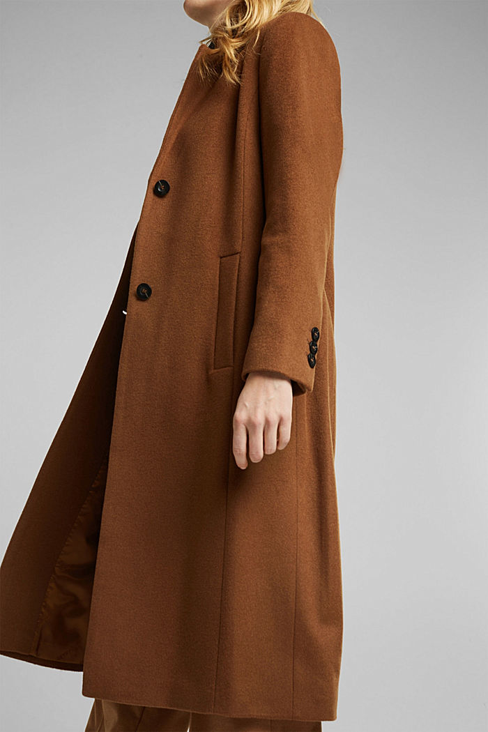 Con cachemire: cappotto in misto lana, RUST BROWN, detail image number 5