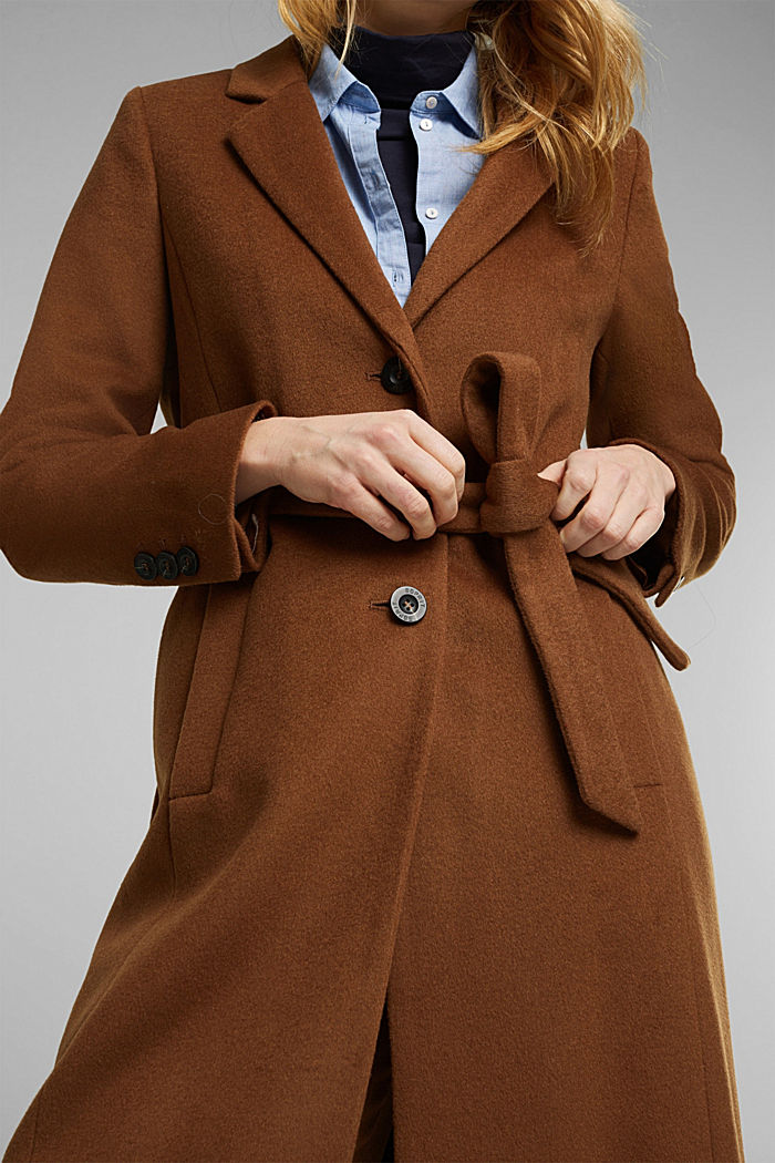 Con cachemire: cappotto in misto lana, RUST BROWN, detail image number 2