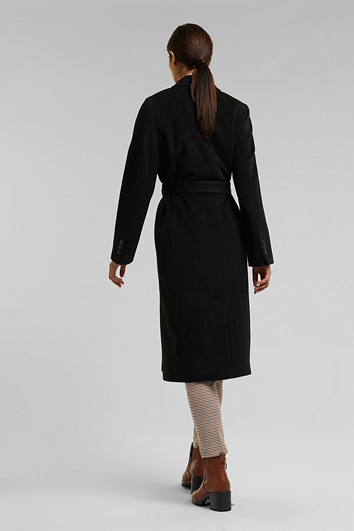 With cashmere: Coat made of blended wool, BLACK, detail image number 3