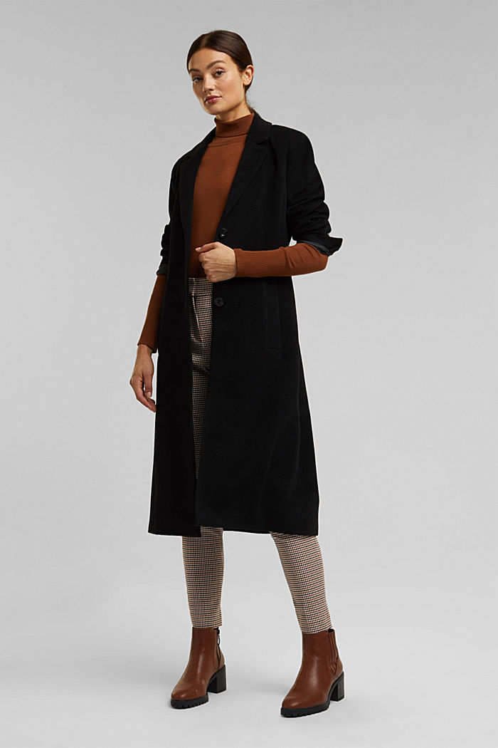 With cashmere: Coat made of blended wool, BLACK, detail image number 1