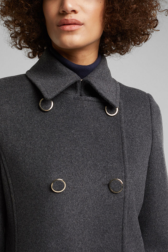 Made of blended wool: lapel collar coat, ANTHRACITE, detail image number 2