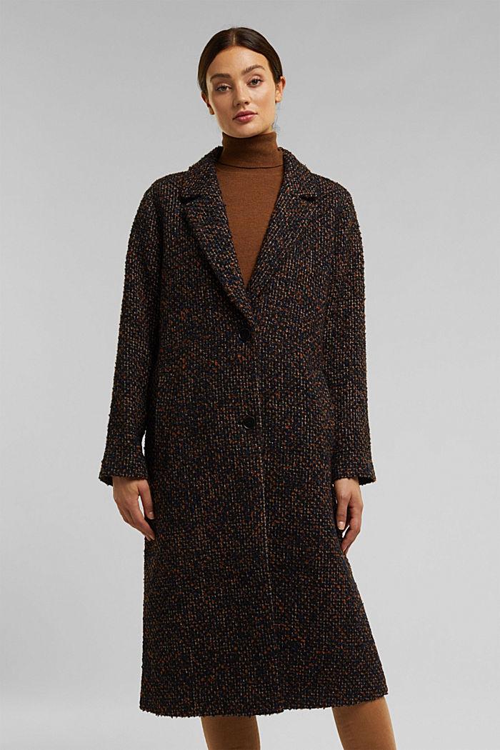 Wool blend: bouclé coat, TAUPE, detail image number 0