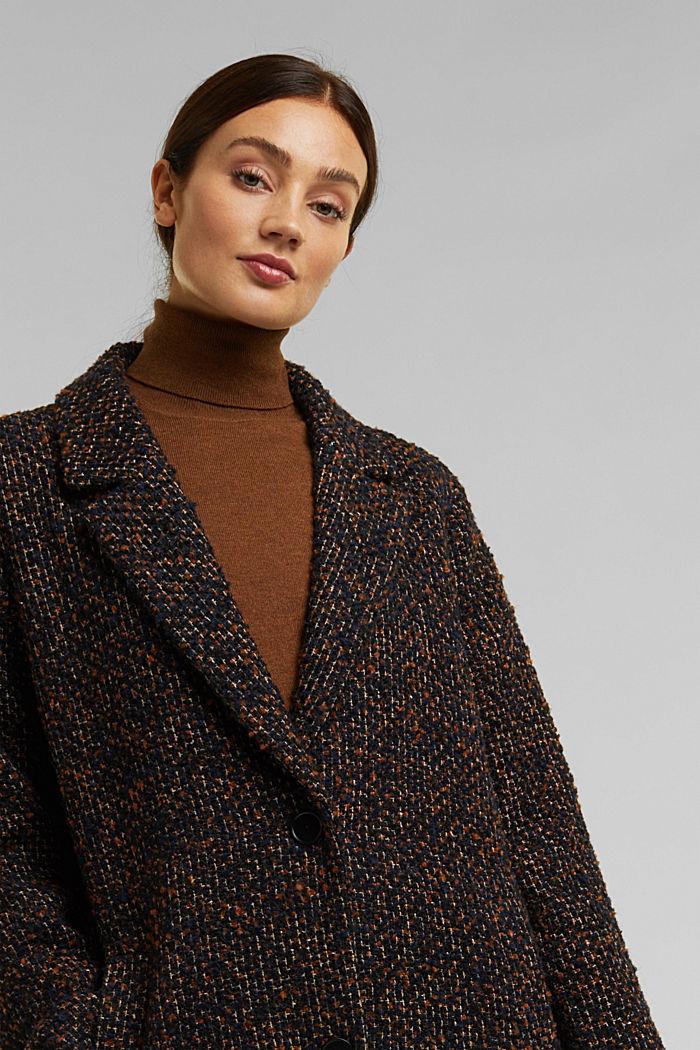 Wool blend: bouclé coat, TAUPE, detail image number 6
