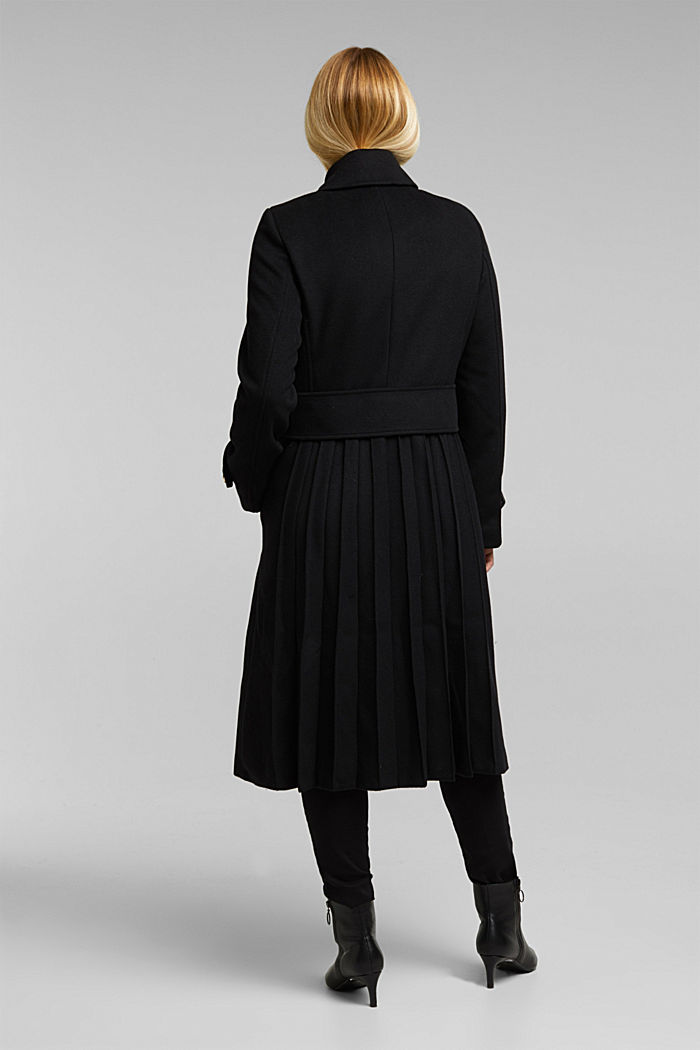 Gerecycled: mantel van een wolmix, BLACK, detail image number 3