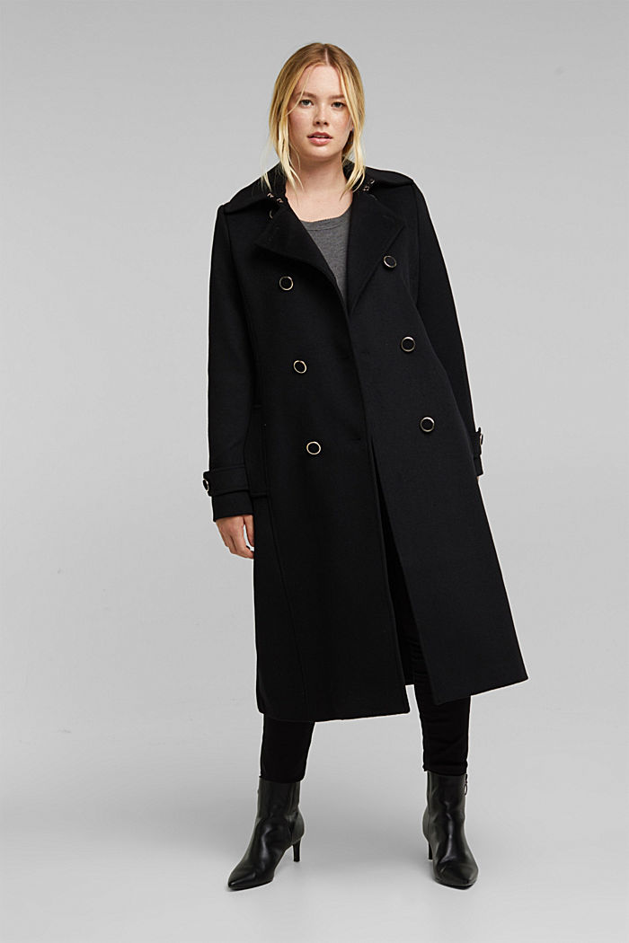 Gerecycled: mantel van een wolmix, BLACK, detail image number 1