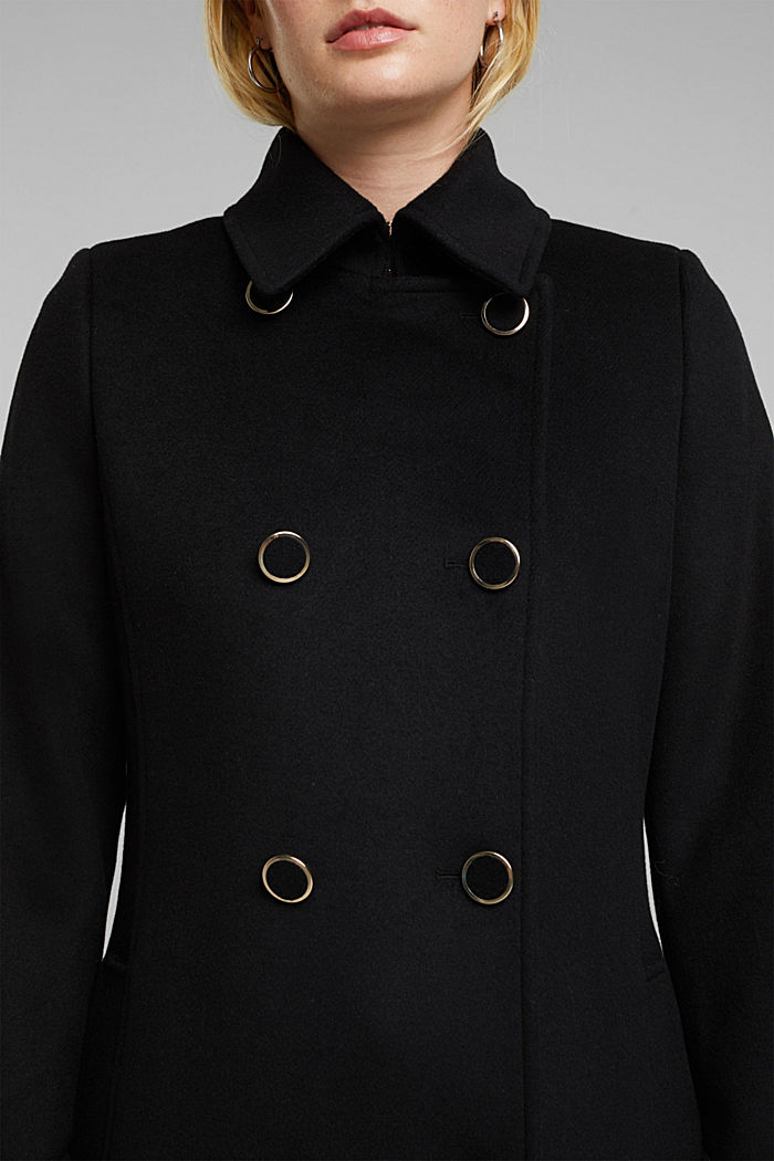 Gerecycled: mantel van een wolmix, BLACK, detail image number 2
