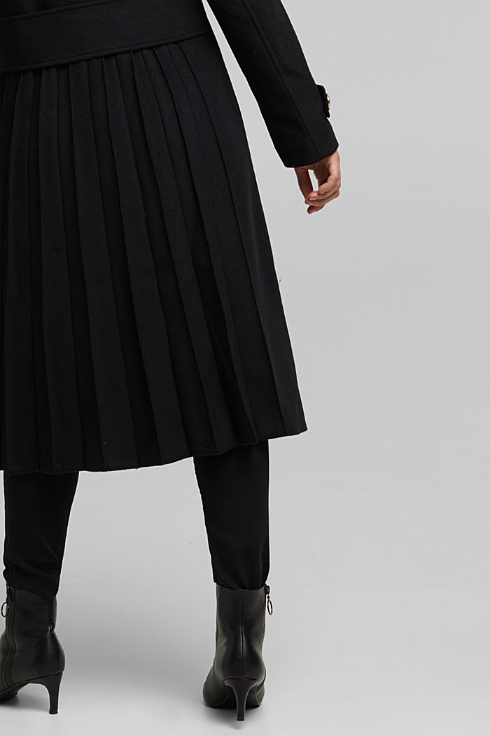 Gerecycled: mantel van een wolmix, BLACK, detail image number 5