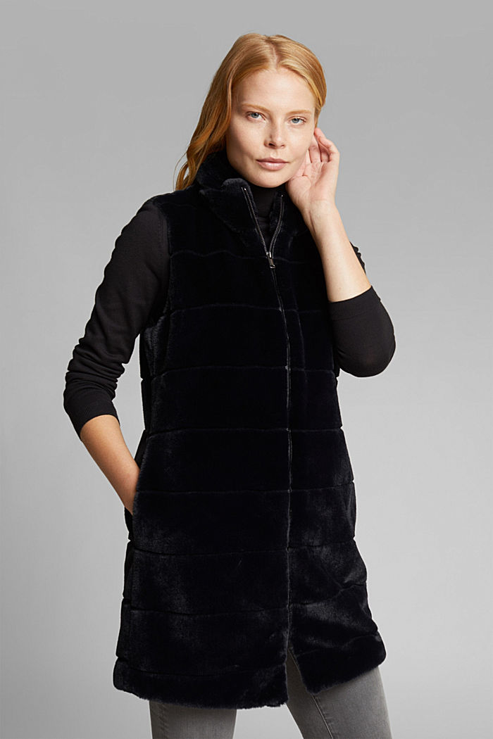 Long outdoor body warmer made of faux fur, BLACK, detail image number 0