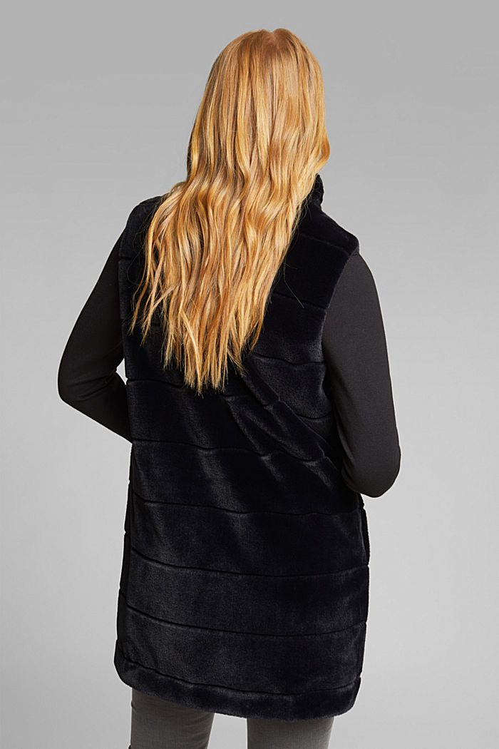 Long outdoor body warmer made of faux fur, BLACK, detail image number 3