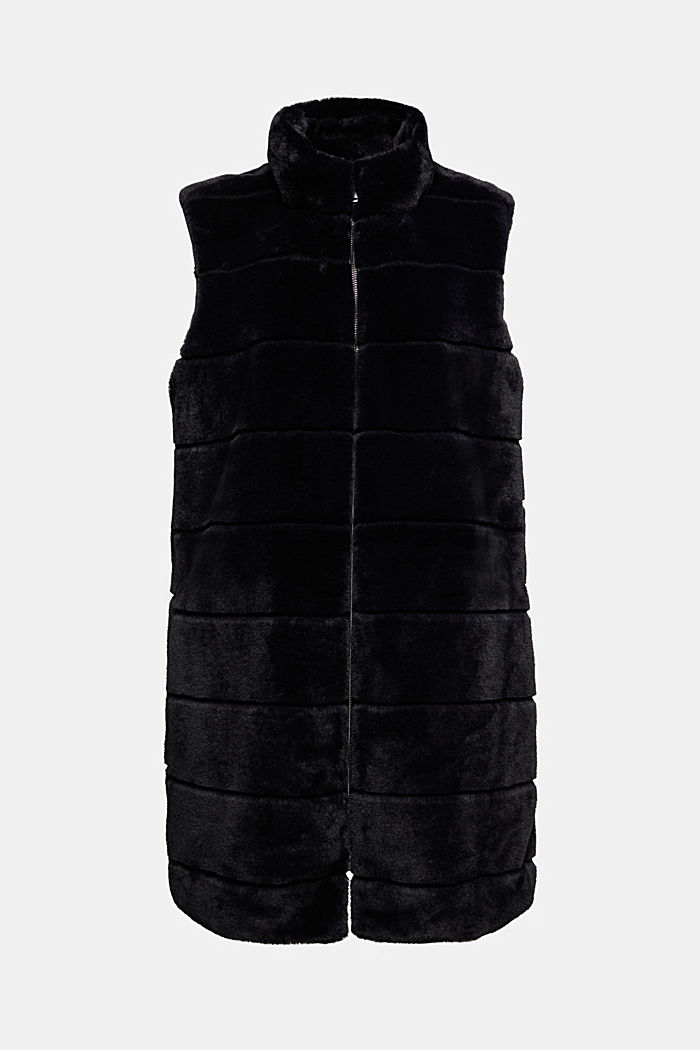Long outdoor body warmer made of faux fur, BLACK, detail image number 6