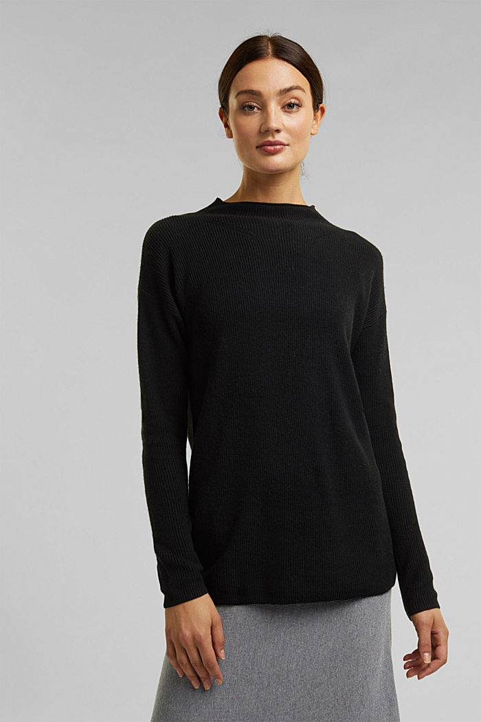With cashmere: fine knit jumper