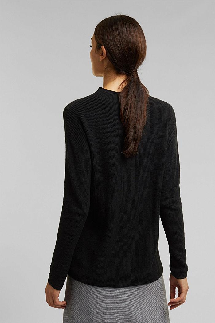 With cashmere: fine knit jumper, BLACK, detail image number 3