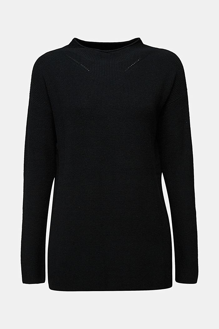 With cashmere: fine knit jumper, BLACK, detail image number 5