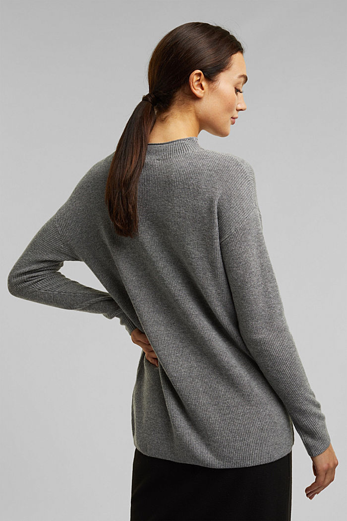 With cashmere: fine knit jumper, GUNMETAL, detail image number 3