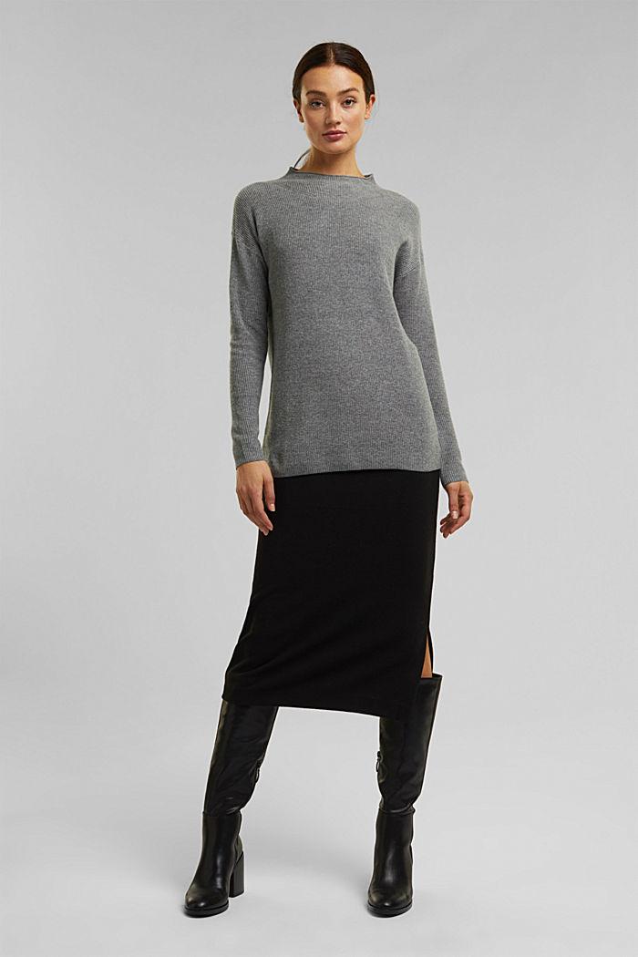 With cashmere: fine knit jumper, GUNMETAL, detail image number 1
