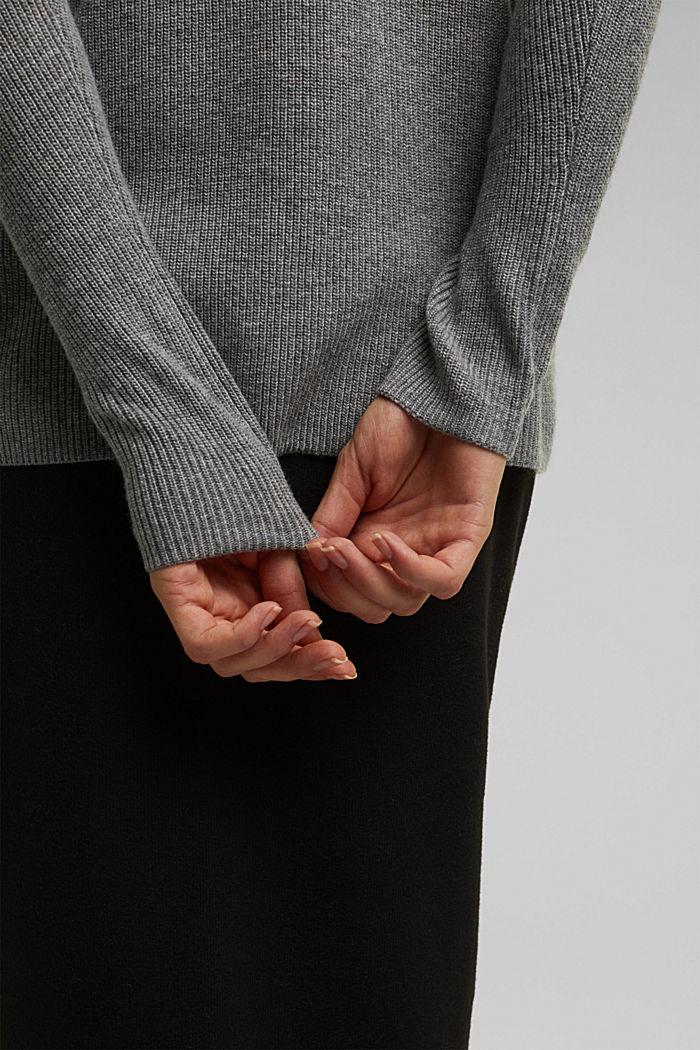 With cashmere: fine knit jumper, GUNMETAL, detail image number 2