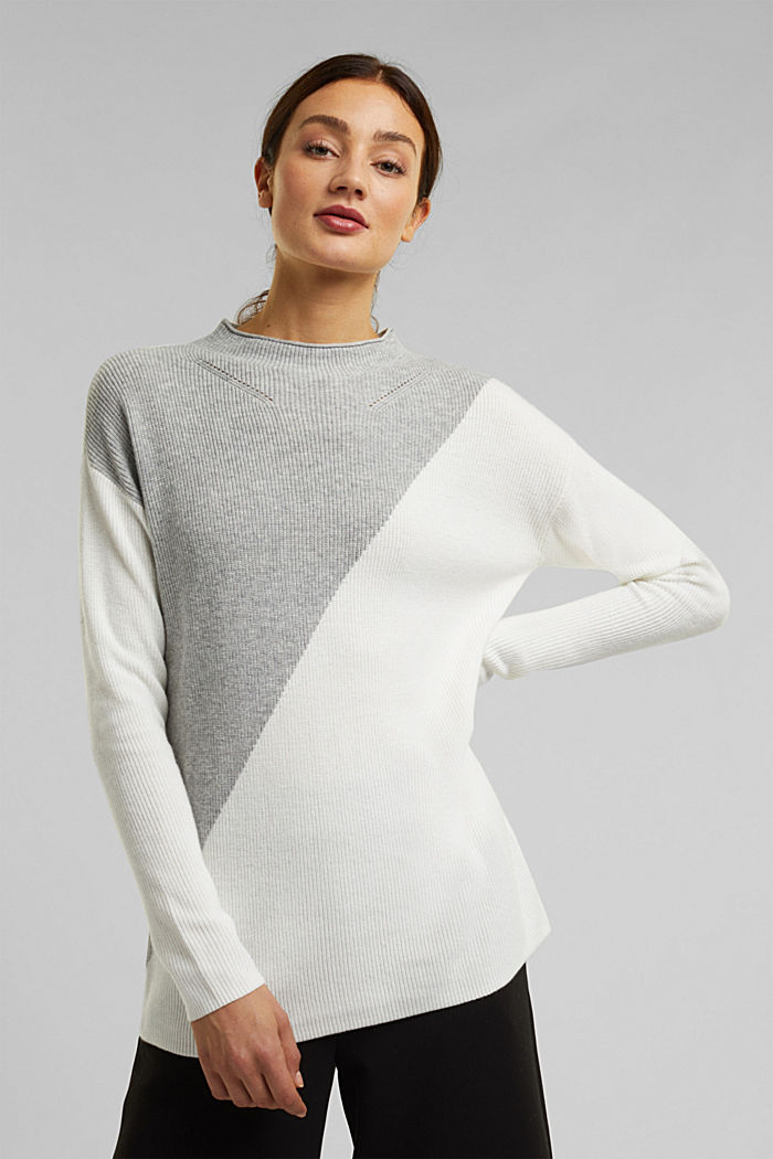 With cashmere: fine knit jumper, LIGHT GREY, detail image number 0