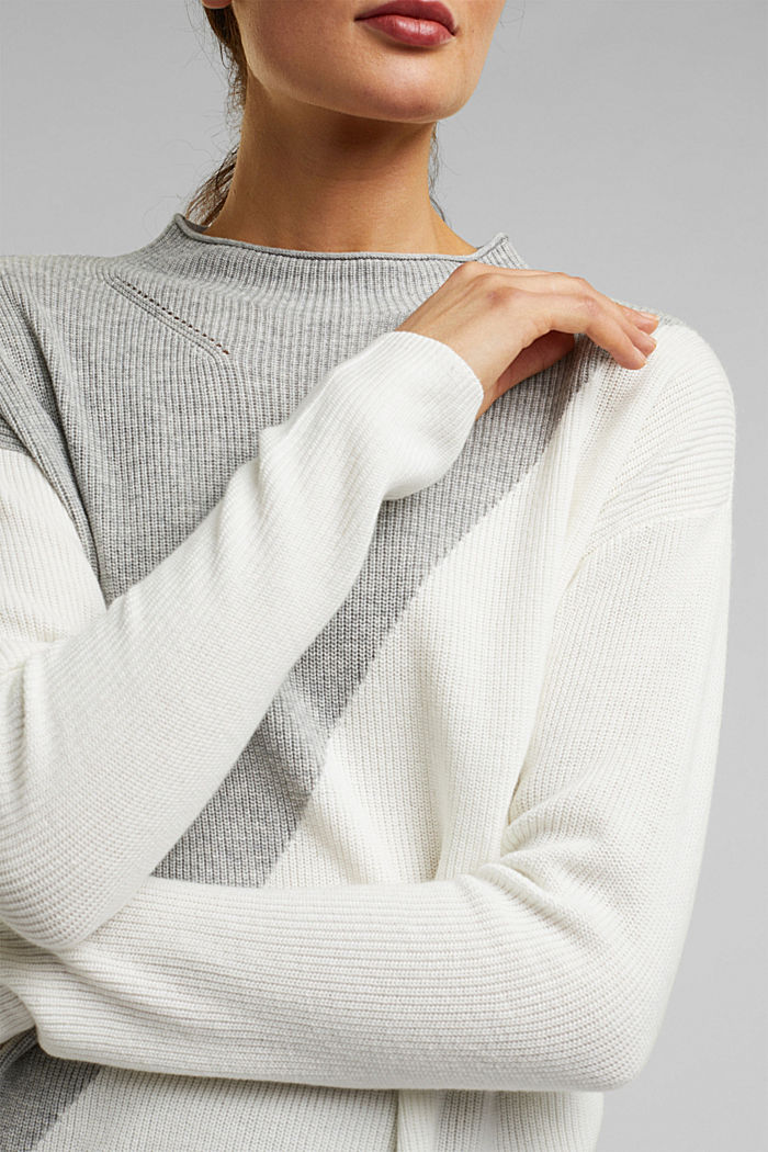 With cashmere: fine knit jumper, LIGHT GREY, detail image number 2
