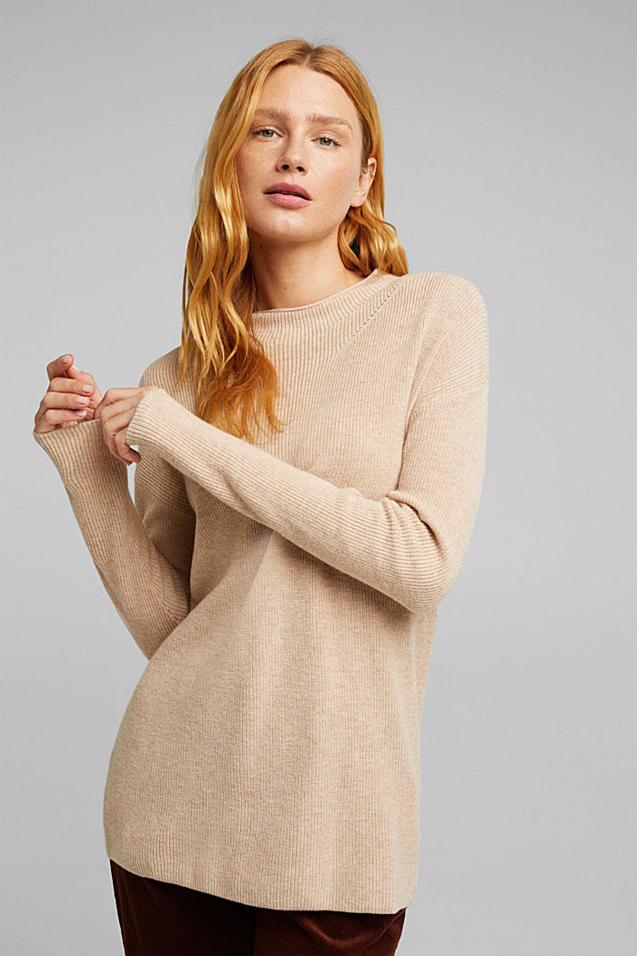 With cashmere: fine knit jumper, BEIGE, detail image number 0
