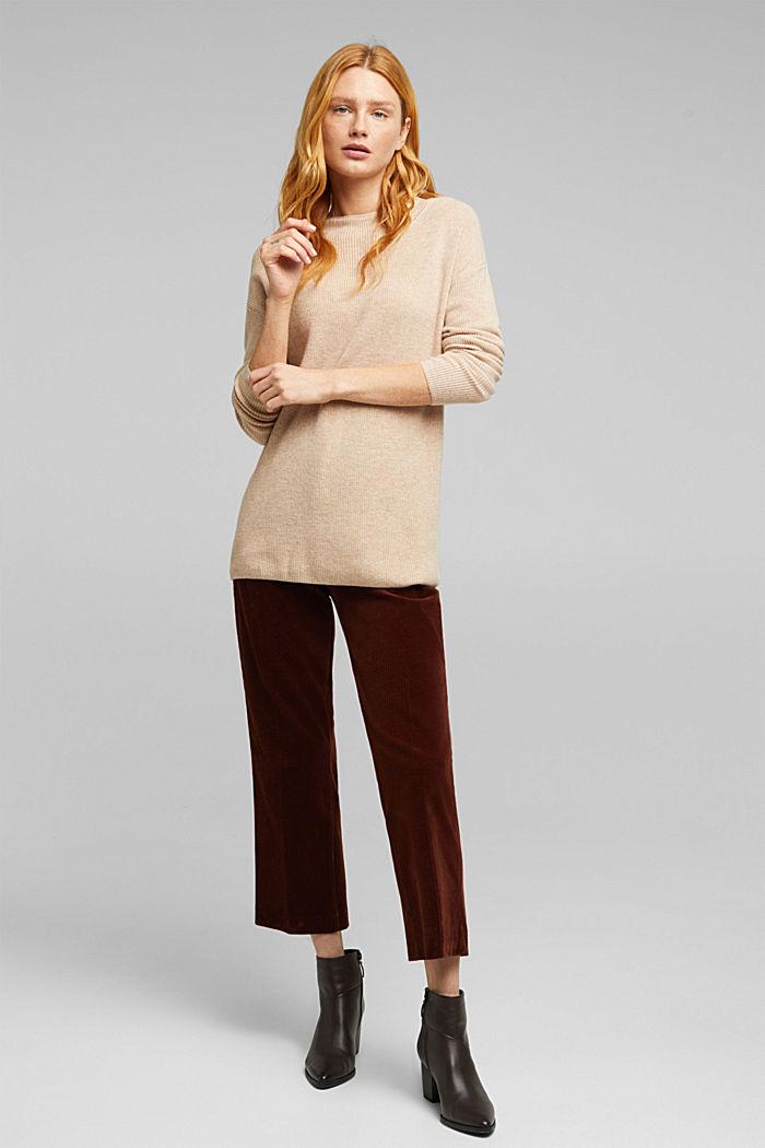 With cashmere: fine knit jumper, BEIGE, detail image number 1