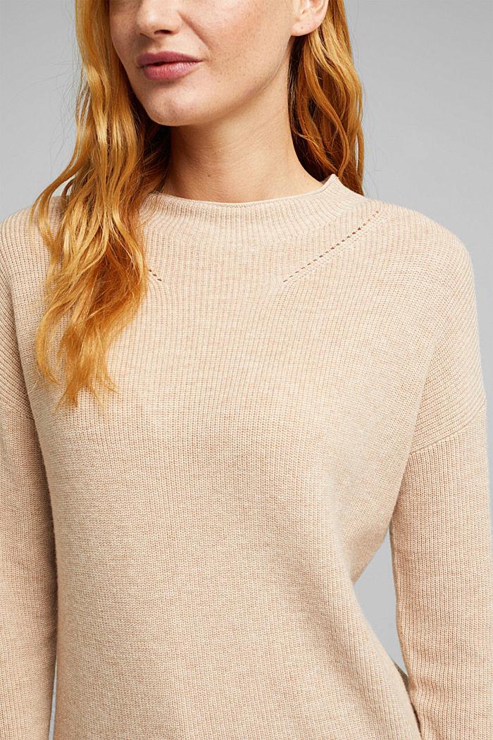 With cashmere: fine knit jumper, BEIGE, detail image number 2