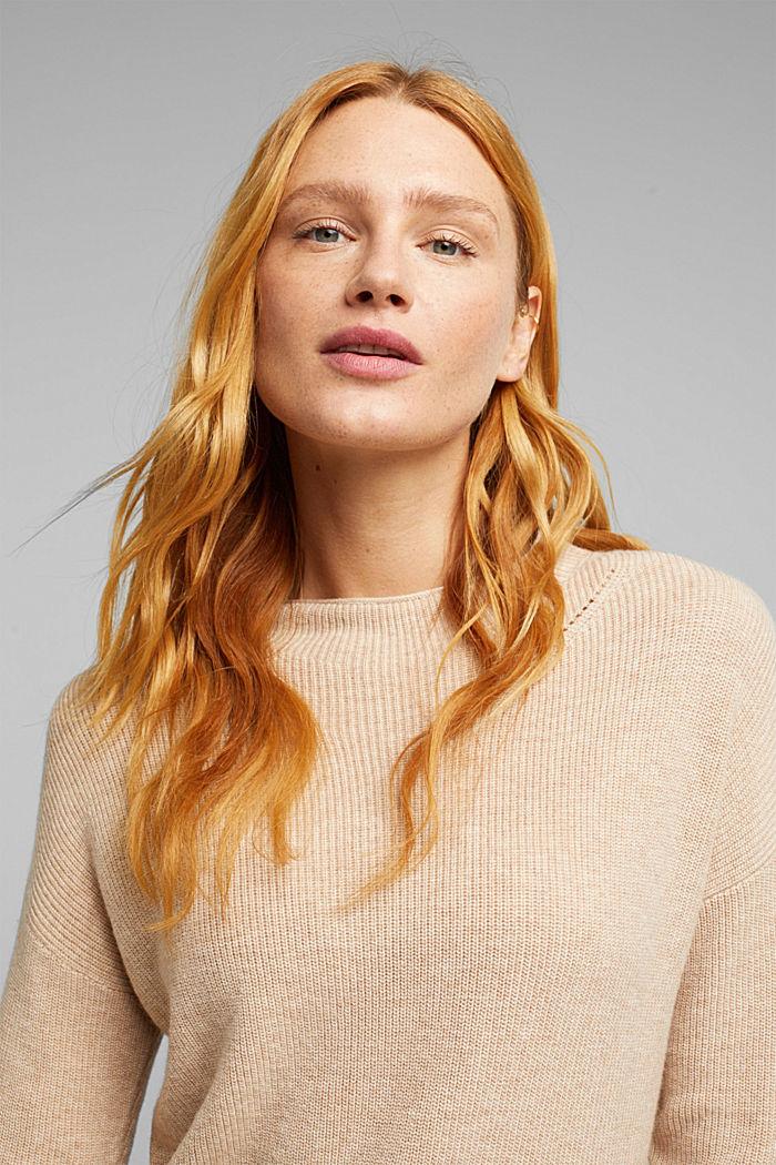 With cashmere: fine knit jumper, BEIGE, detail image number 5