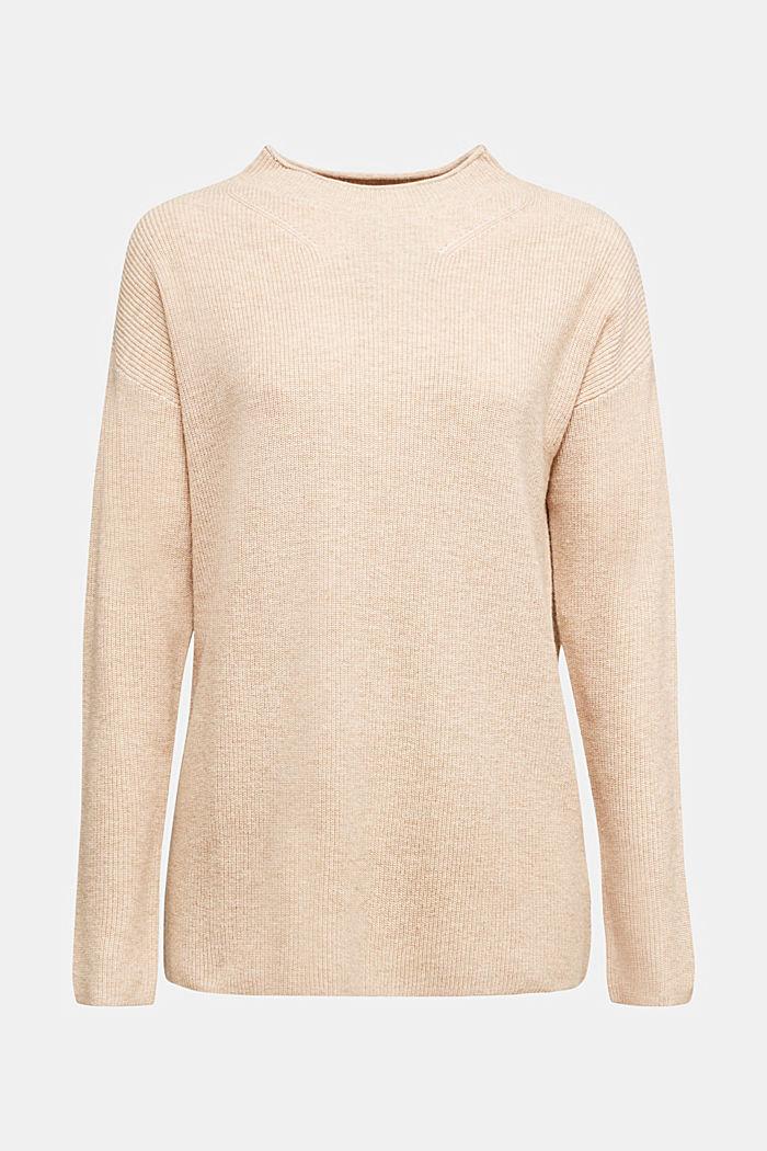 With cashmere: fine knit jumper, BEIGE, detail image number 8
