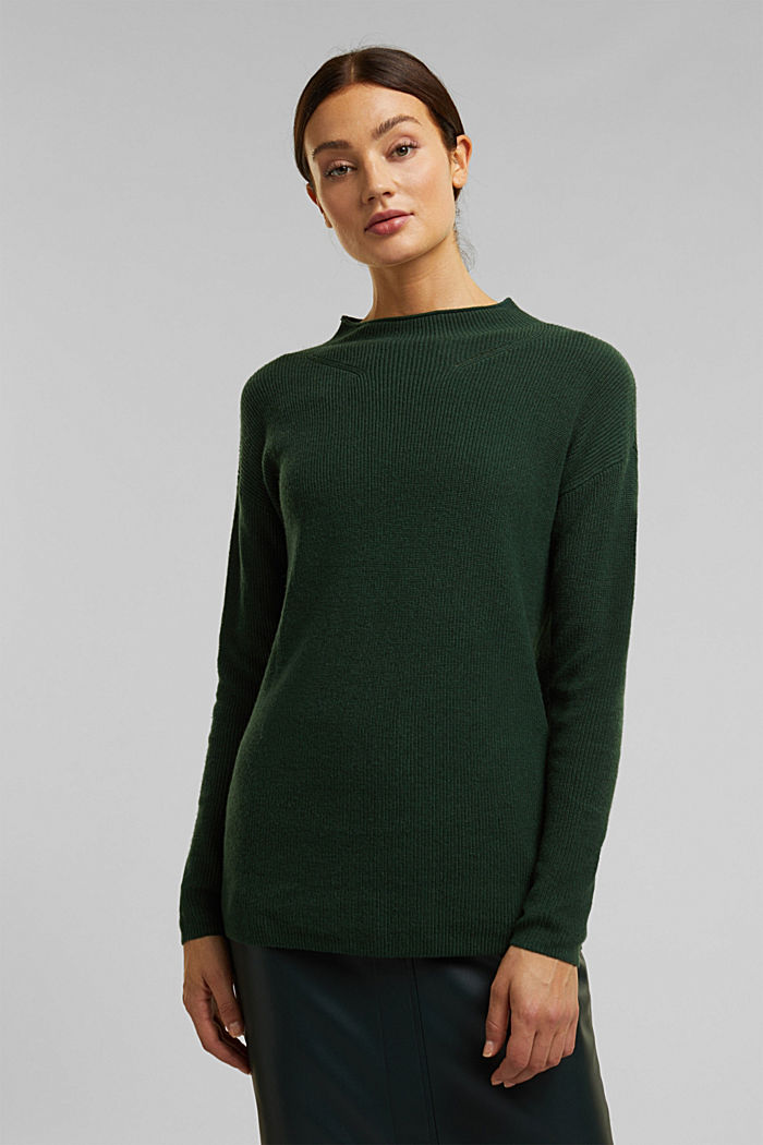 With cashmere: fine knit jumper, DARK GREEN, detail image number 0