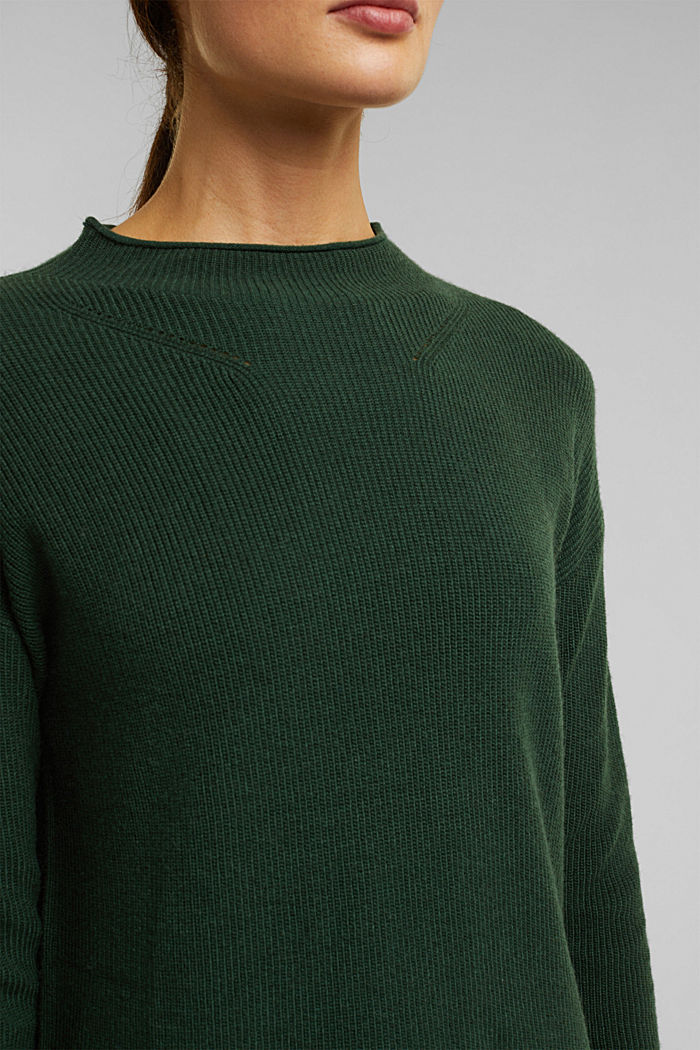 With cashmere: fine knit jumper, DARK GREEN, detail image number 2