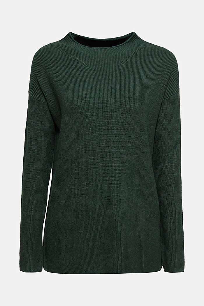 With cashmere: fine knit jumper, DARK GREEN, detail image number 7