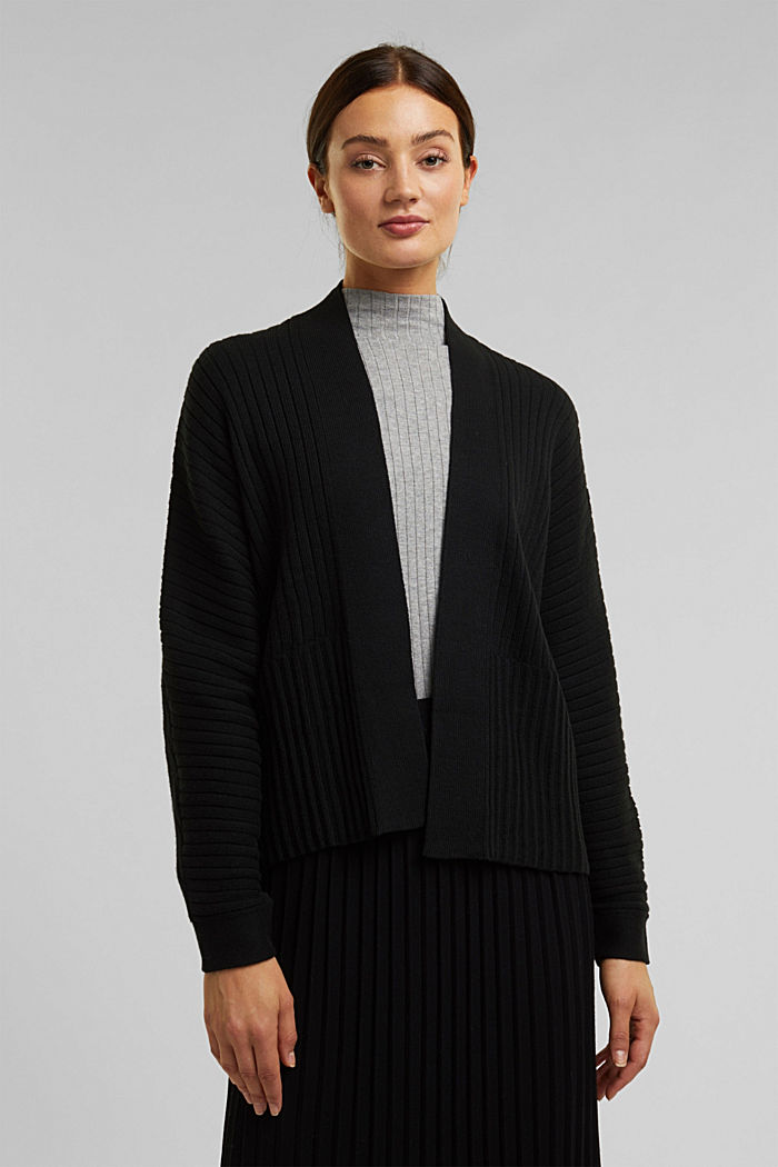 With cashmere: Rib knit cardigan, BLACK, detail image number 0