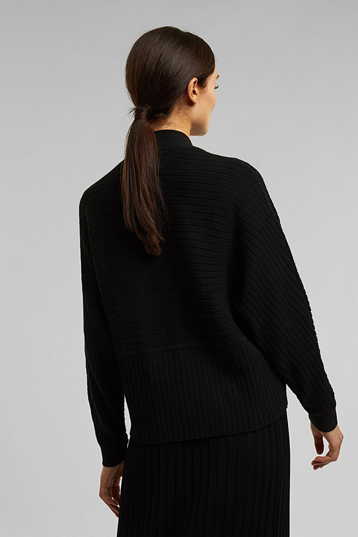 With cashmere: Rib knit cardigan, BLACK, detail image number 3