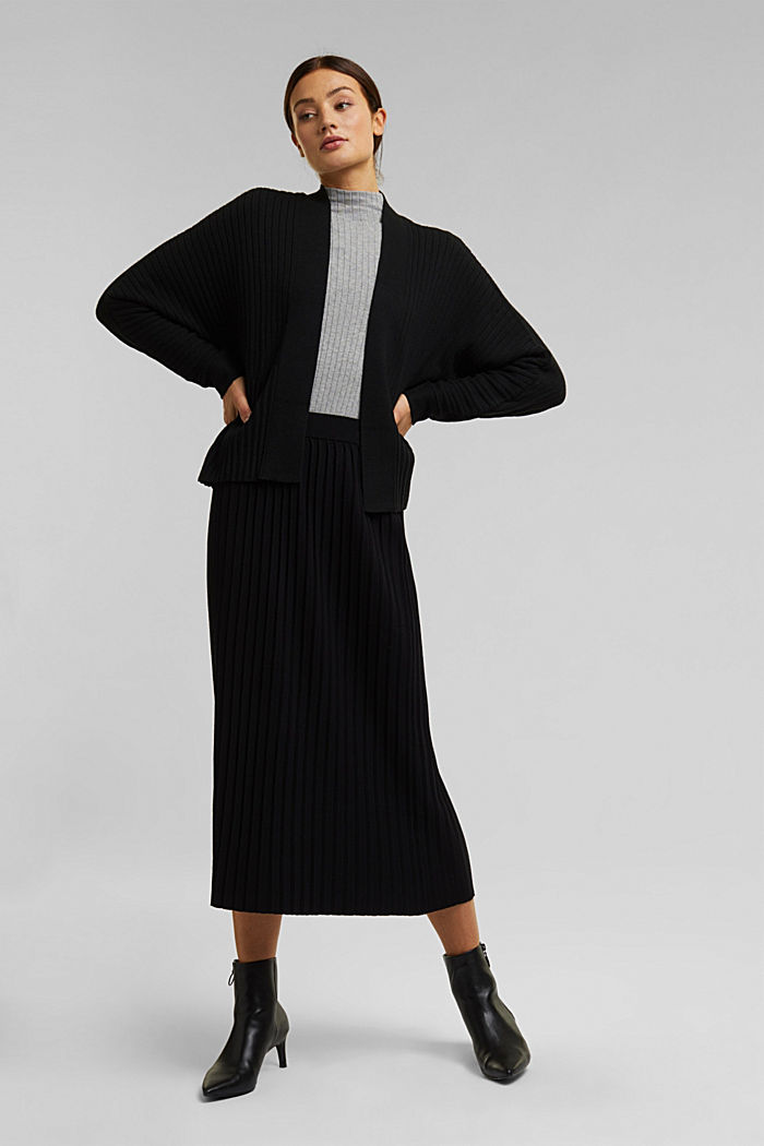 With cashmere: Rib knit cardigan, BLACK, detail image number 5