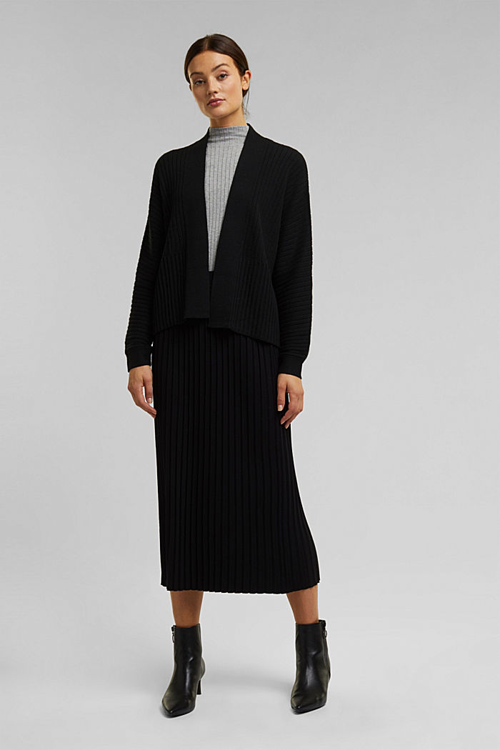 With cashmere: Rib knit cardigan, BLACK, detail image number 1