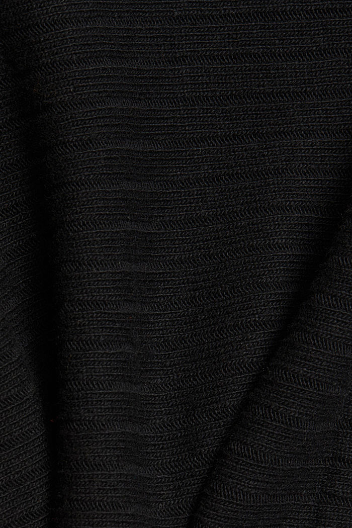 With cashmere: Rib knit cardigan, BLACK, detail image number 4